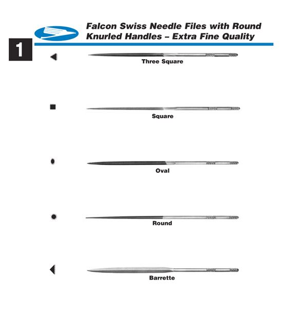Falcon Swiss Needle Files with Round, Knurled Handles